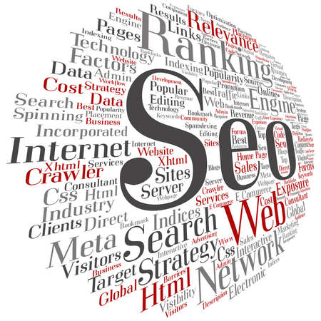 Concept or conceptual search engine optimization, seo abstract round word cloud isolated on metaphor to marketing, web, internet, strategy, online, rank, result,  network, top, relevance.