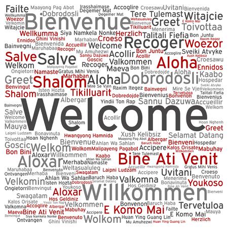 벡터 개념 또는 개념 환영 또는 인사말 국제 단어 구름 다른 언어로 또는 절연