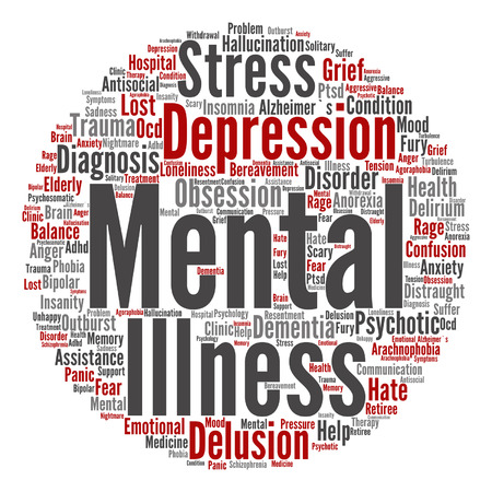 psychotic: Vector conceptual mental illness disorder management or therapy abstract word cloud isolated