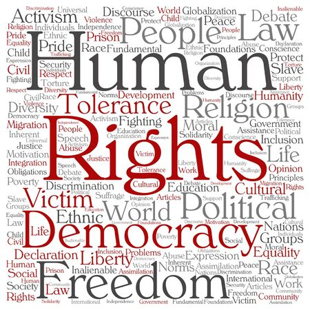 civil rights: Vector human rights political freedom or democracy square word cloud isolated on background