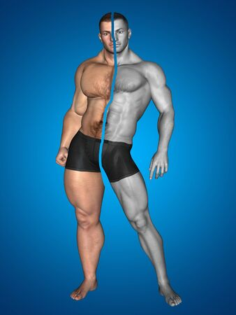 muscle gain: Human man thin and muscle concept on blue background Stock Photo