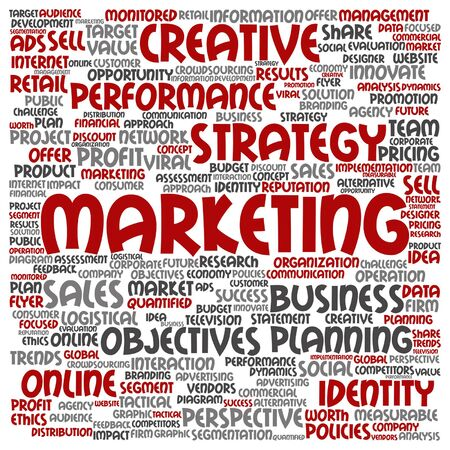 evaluate: A Vector concept or conceptual business marketing target word cloud isolated on background.