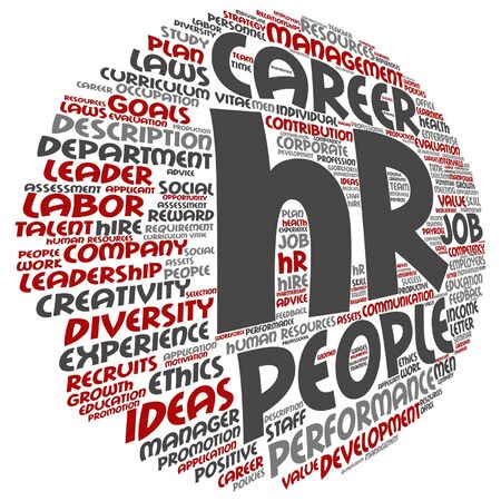 Concept conceptual hr or human resources management abstract round word cloud metaphor to workplace, development, career, success, hiring, competence, goal, corporate job.