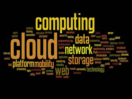shared: A Vector concept conceptual web cloud computing technology word cloud isolated. Illustration