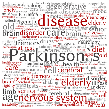 Vector conceptual Parkinson`s disease healthcare or nervous system disorder word cloud isolated Illustration
