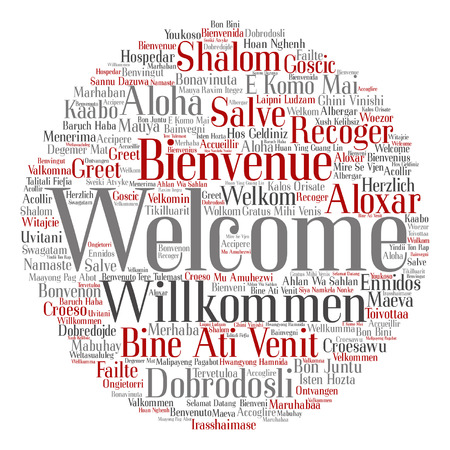 A Vector concept or conceptual welcome or greeting international word cloud in different languages or isolated.