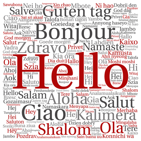 Cncept or conceptual square hello or greeting international word cloud in different languages or multilingual, metaphor to world, foreign, worldwide, travel, translate, vacation or tourism.