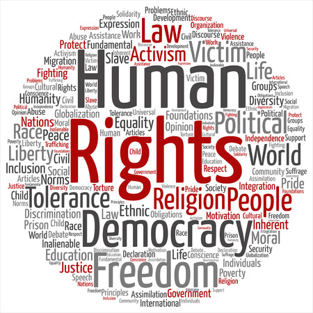 A Vector concept or conceptual human rights political freedom or democracy word cloud isolated on background Illustration