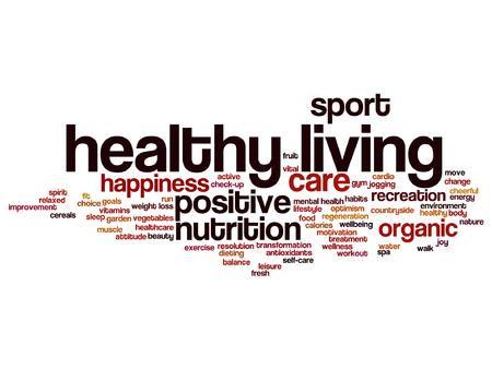 Een Vector concept of conceptuele gezond leven positieve voeding of sport woord wolk geïsoleerd op achtergrond.