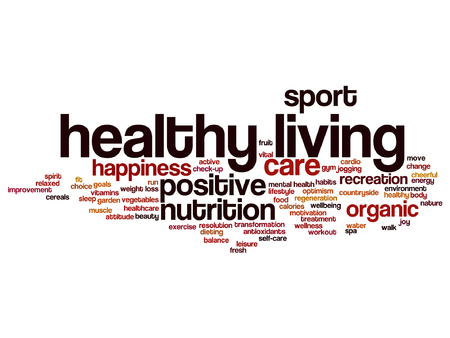 A Vector concept or conceptual healthy living positive nutrition or sport word cloud isolated on background. Illustration