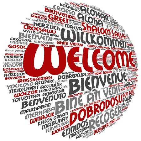 Round abstract welcome or greeting international word cloud in different languages or multilingual, metaphor to world, foreign, worldwide, travel, translate, vacation or tourism.