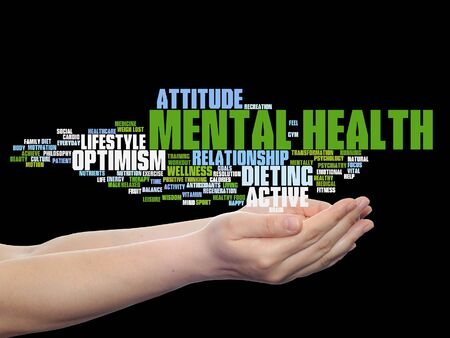 mentally: Concept or conceptual mental health or positive thinking word cloud held in hands isolated Stock Photo