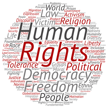 slavery: Concept or conceptual human rights political freedom or democracy word cloud isolated on background