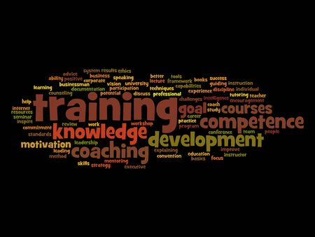 Concept or conceptual training, coaching or learning, study word cloud  isolated on background