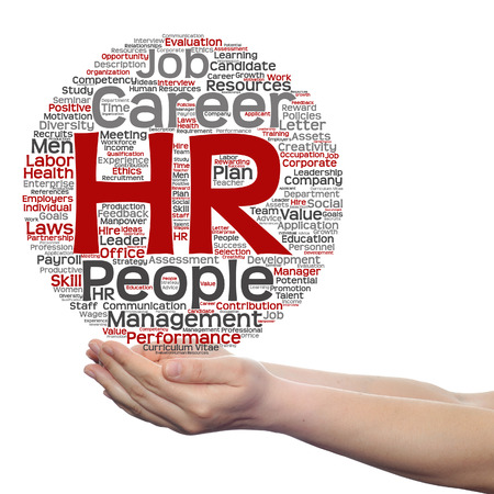 Concept conceptual hr or human resources management abstract word cloud in hand isolated Stock Photo