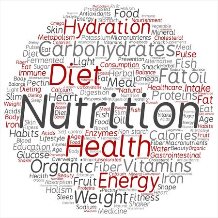 intake: Vector concept or conceptual nutrition health or diet word cloud isolated on background