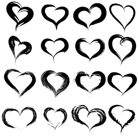 Vector concept of conceptueel zwart geschilderd hart vorm of liefde symbool set of verzameling, gemaakt door een gelukkig kind op school op een witte achtergrond