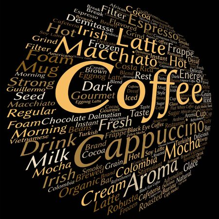 macchiato: Vector concept conceptual creative hot coffee, cappuccino or espresso abstract word cloud isolated on background, metaphor to morning, restaurant, italian, beverage, cafeteria, break, energy or taste