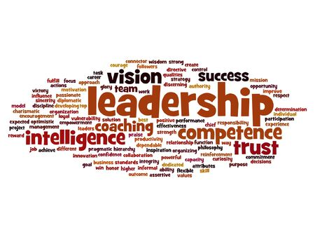 inspiring: Vector concept or conceptual business leadership, management value word cloud isolated on background Illustration