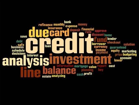 quantity: Vector concept or conceptual credit card line investment balance word cloud isolated on background