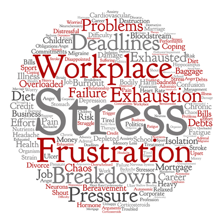 transactional: Vector conceptual mental stress at workplace or job word cloud isolated on background Illustration