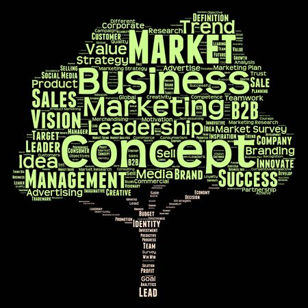 Conceptual business leadership or media word cloud isolated on background