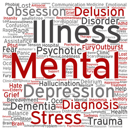 delusion: Conceptual mental illness disorder management or therapy abstract word cloud isolated Stock Photo