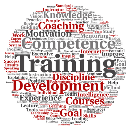 Concept or conceptual training, coaching or learning, study word cloud isolated on background Stock Photo