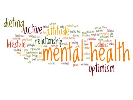 philosophic: Conceptual mental health or positive thinking word cloud isolated