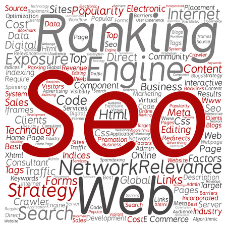 keywords: Concept or conceptual search engine optimization, seo abstract word cloud isolated on background metaphor to marketing, web, internet, strategy, online, rank, result,  network, top, relevance