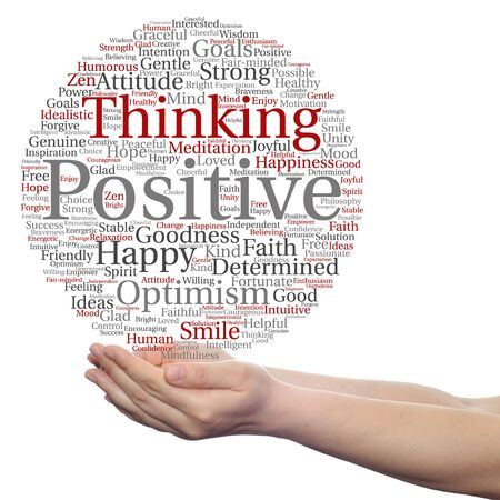 philosophic: Concept or conceptual positive thinking, happy strong attitude word cloud in hand isolated