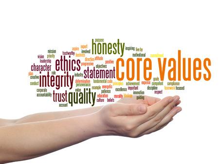 Valeurs fondamentales conceptuelles intégrité éthique concept mot nuage dans les mains isolé sur fond