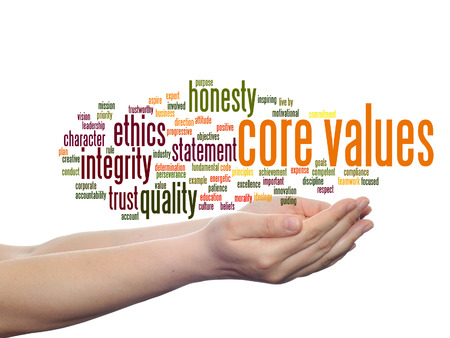 Conceptual core values integrity ethics concept word cloud in hands isolated on background