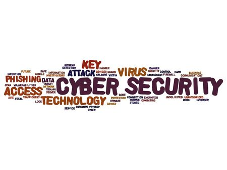 malicious software: Vector concept or conceptual cyber security access technology word cloud isolated on background