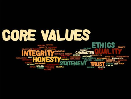 PRINCIPLES: Vector conceptual core values integrity ethics concept word cloud isolated on background