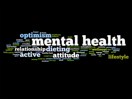 philosophic: Vector conceptual mental health or positive thinking word cloud isolated Illustration