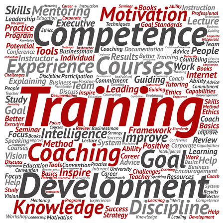inspiring: Vector concept or conceptual training, coaching or learning, study word cloud isolated on background Illustration