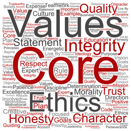 business ethics: Vector conceptual core values integrity ethics concept word cloud isolated on background