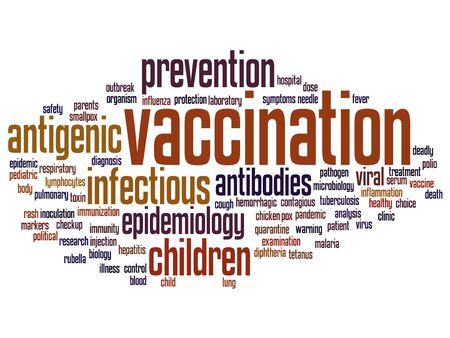 Concept or conceptual children vaccination or viral prevention word cloud isolated on background