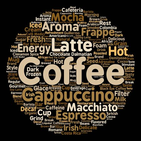 Concept conceptual creative hot coffee, cappuccino or espresso abstract word cloud isolated
