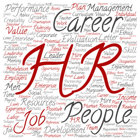 evaluate: Concept conceptual hr or human resources word cloud isolated on background Stock Photo