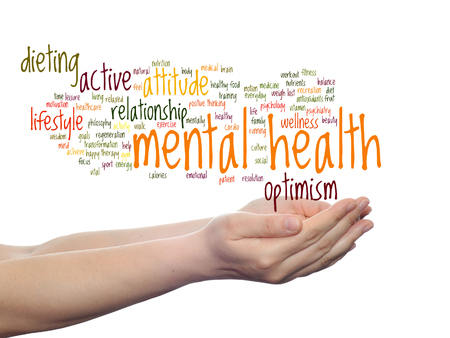 Concept or conceptual mental health or positive thinking word cloud held in hands isolated Stockfoto