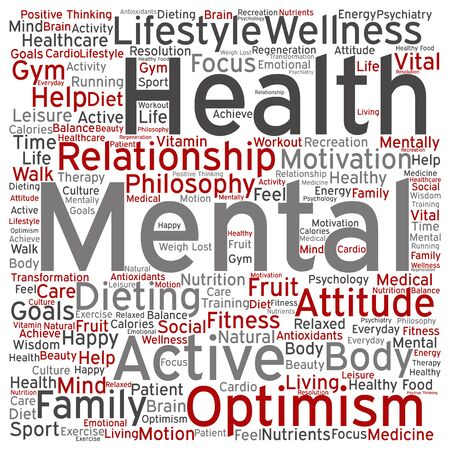 philosophic: Conceptual mental health or positive thinking abstract word cloud isolated
