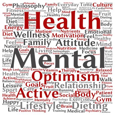 Vector conceptuele geestelijke gezondheid of positieve denken abstracte woord wolk