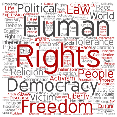 civil rights: Vector concept or conceptual human rights political freedom or democracy square word cloud isolated on background  metaphor to humanity world tolerance, law principles, people justice discrimination Illustration