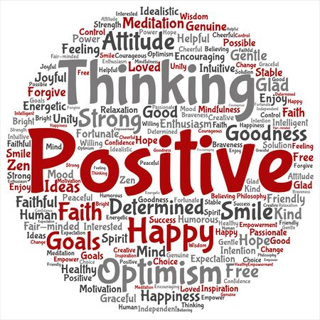 philosophic: Vector concept or conceptual positive thinking, happy strong attitude word cloud isolated on background