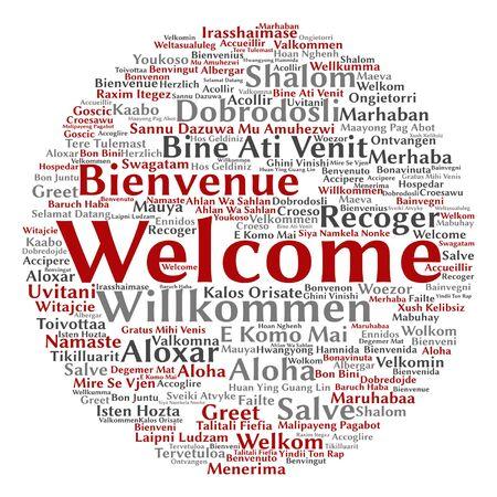 Vectorconcept of conceptuele onthaal of groet internationale woordwolk in verschillende talen of geïsoleerd