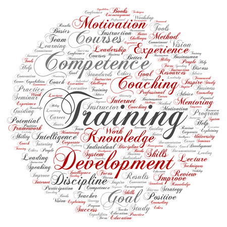 Vector concept or conceptual training, coaching or learning, study word cloud