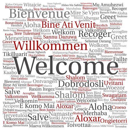 Vector concept of conceptueel welkom of groet internationale woord wolk in verschillende talen of geïsoleerd