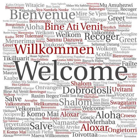 Vector concept or conceptual welcome or greeting international word cloud in different languages or isolated Stock Vector - 81886107